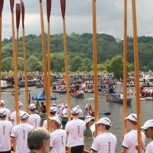 Magna Carta 800 Years Celebrations at Runnymede with crowds. Gloriana and tossed oars by Windsor boys