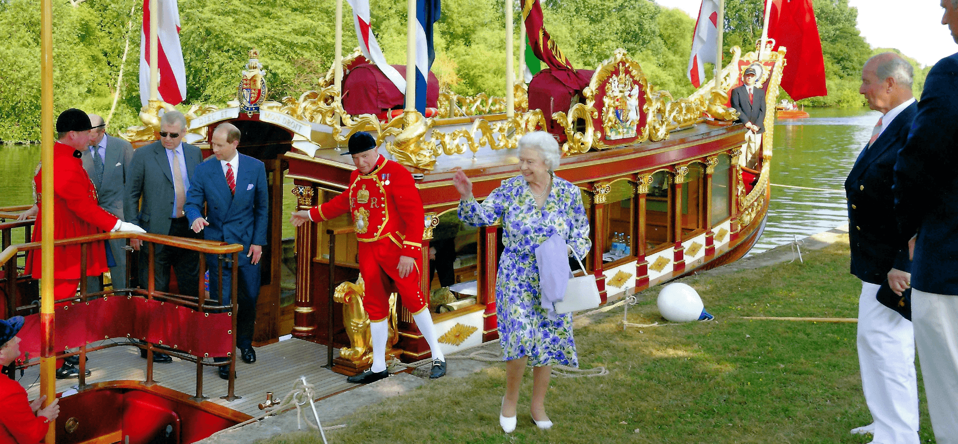 Her Majesty The Queen disembarking from Gloriana