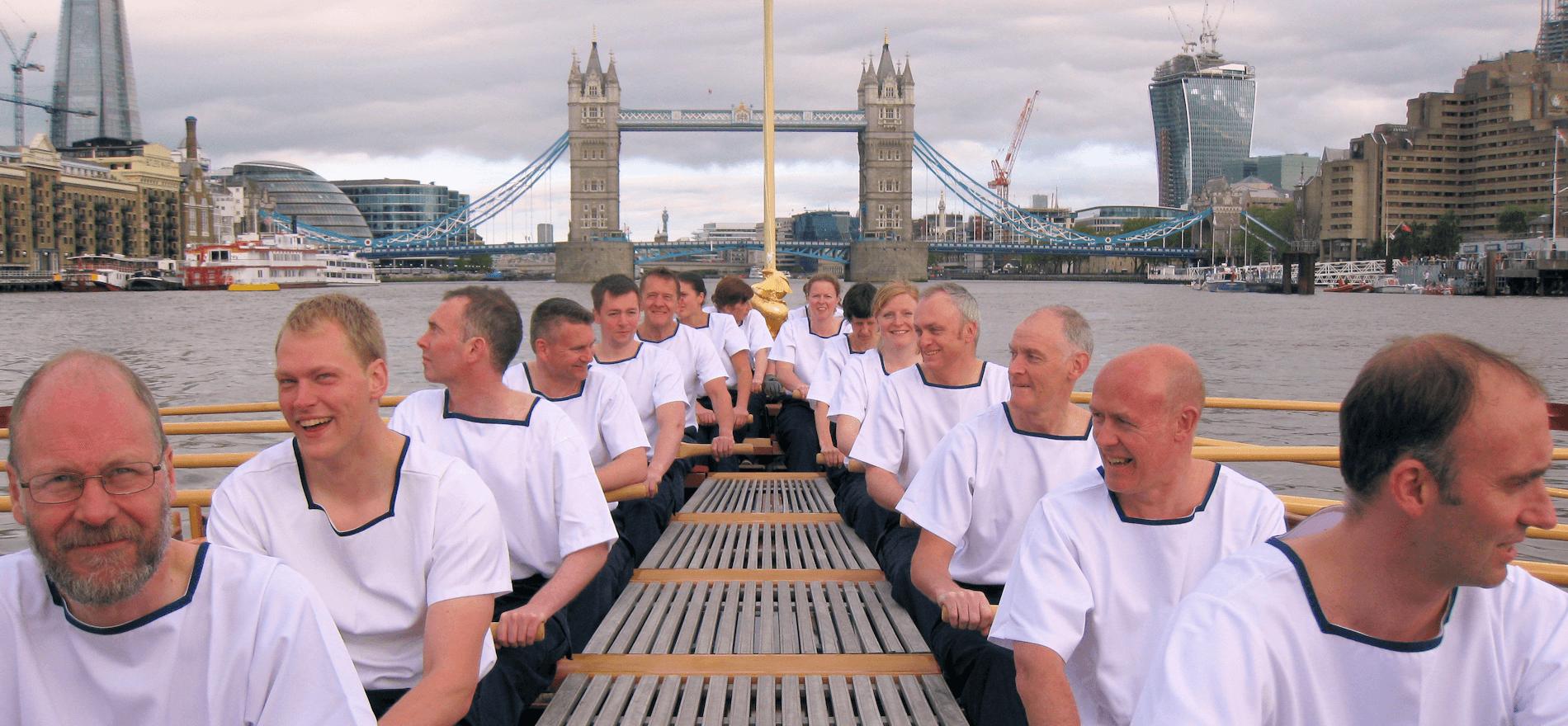 RNR HMS President Crew Tower Bridge rowing Gloriana