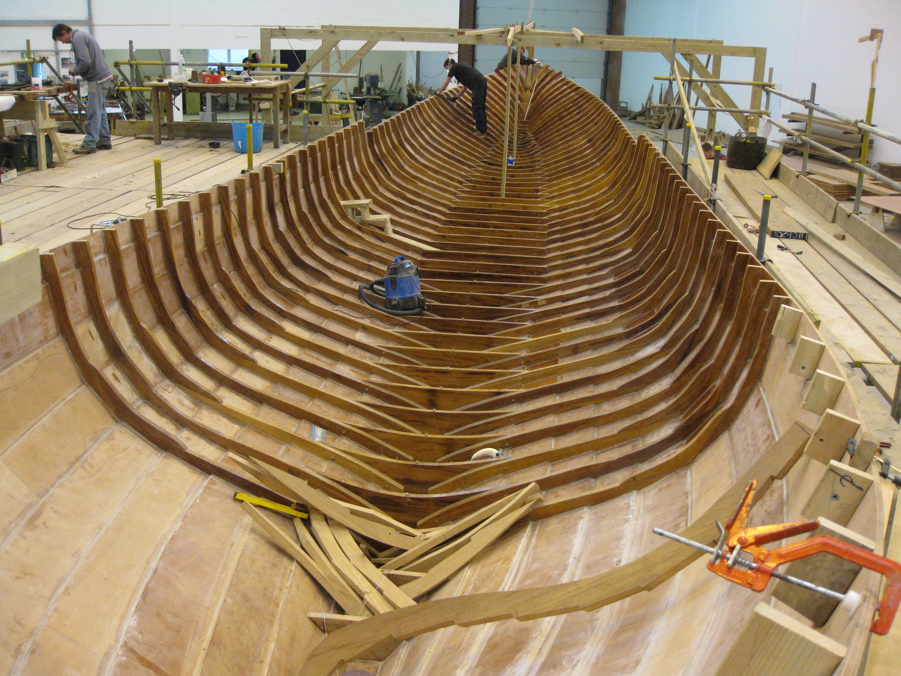 The wooden hull is fitted with ribs