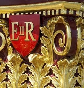 E II R red crest on Gloriana