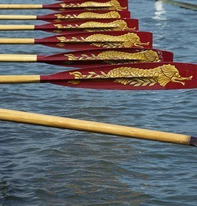 Gloriana's bow-side blades in action at Henley Royal Regatta