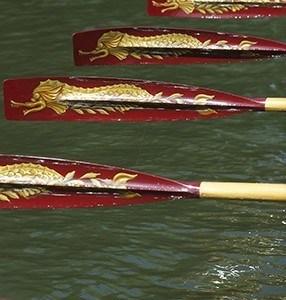 Gloriana's stroke-side blades in action at Henley Royal Regatta