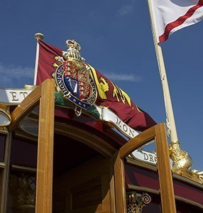 Open doors on the Gloriana at Henley Royal Regatta