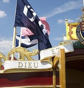 Detail of Flags and Dieu Et Mon Droit
