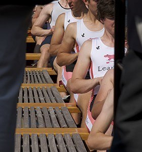 Young rowers rowing Gloriana at Henley Royal Regatta