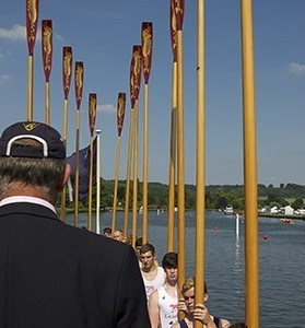 A view from Malcolm's shoulder down the crew and upright oars
