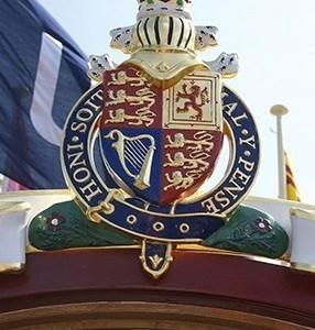 The royal crest of Gloriana at Henley Royal Regatta