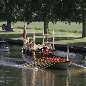 The Queen's Row Barge Gloriana, with HM The Queen, Prince Andrew, Earl and Countess of Wessex, The Duke of Kent and The Duke and Duchess of Gloucester aboard go for an afternoon row on the River Thames at Windsor