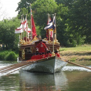 Gloriana and the Royal Watermen rowing