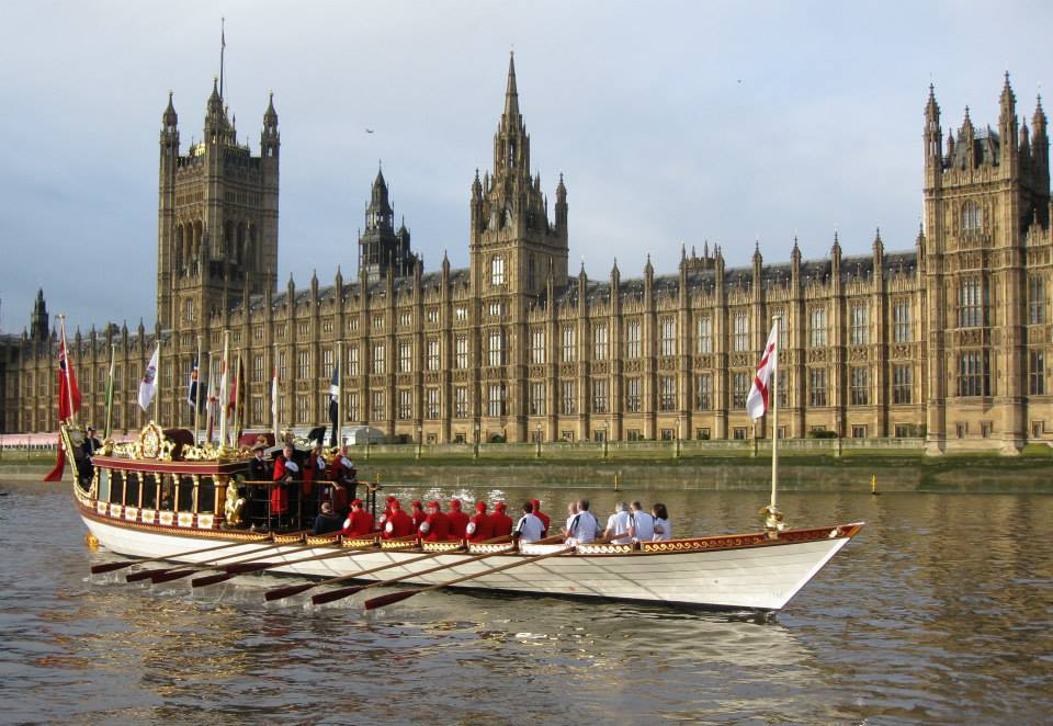 Lord Mayor's River Pageant in front of Houses of Parliament