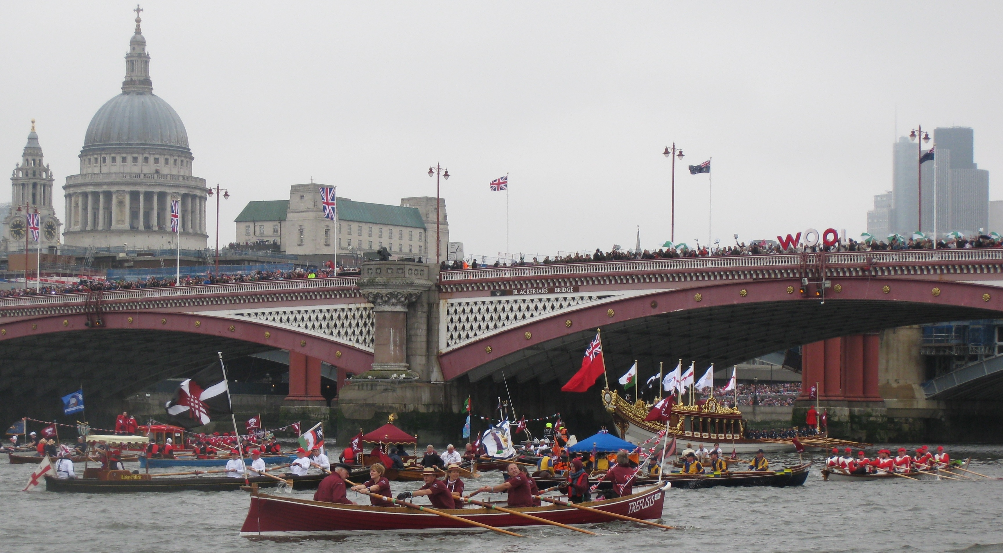 St Pauls looks on at the Diamond Jubilee Pageant