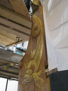 The beautifully painted rudder