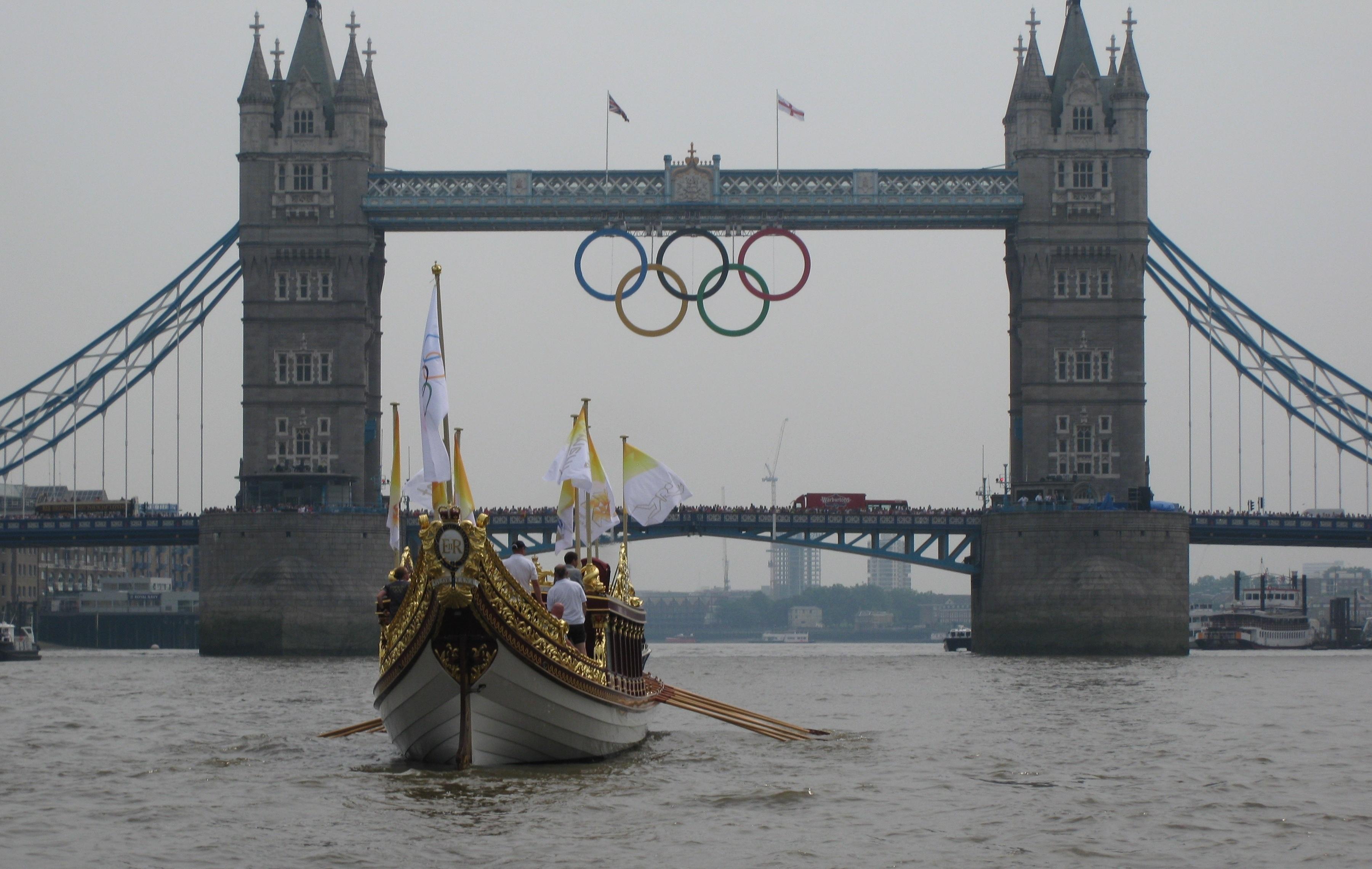 Tower Bridge wearing her Olympic Rings