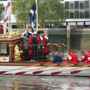 New Lord Mayor in garb aboard Gloriana