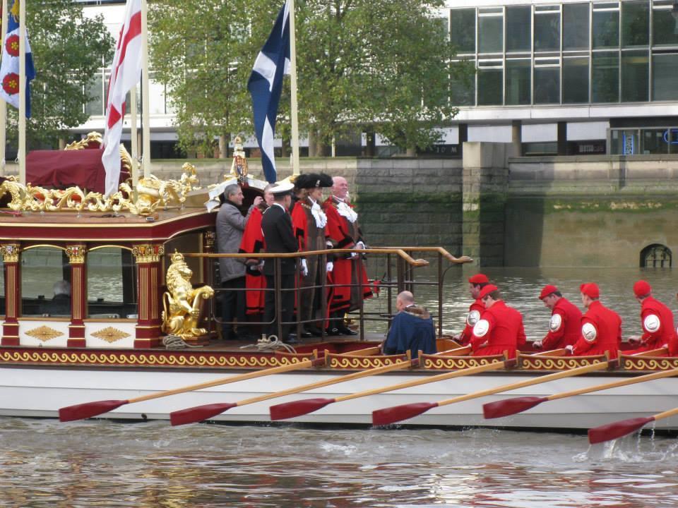 New Lord Mayor in garb aboard Gloriana