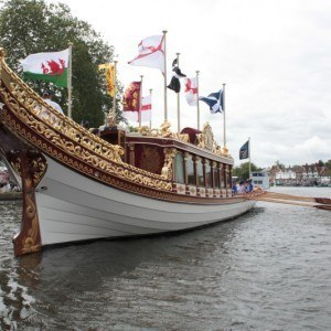 The Queen's Rowbarge Gloriana crewed by past Olympians