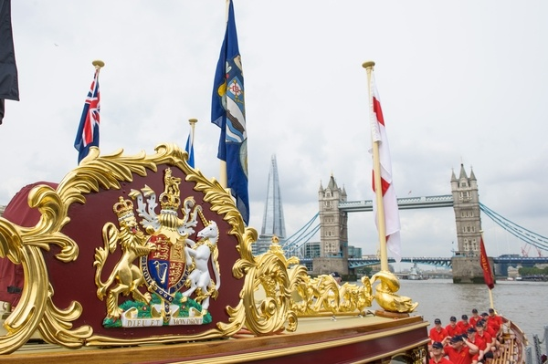 Details of the MV Gloriana as it rows up the Thames as part of HM The Queen's 90th Birthday celebrations
