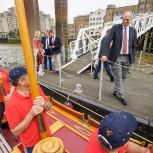 Sir Steve Redgrave chats with the crew on board the Gloriana MV Gloriana rows up the Thames as part of HM The Queen's 90th Birthday celbrations