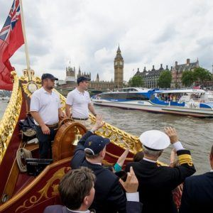 On board The Gloriana MV Gloriana rows up the Thames as part of HM The Queen's 90th Birthday celebrations