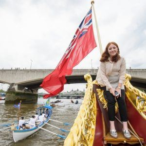Chris Cully, Rower MV Gloriana rows up the Thames as part of HM The Queen's 90th Birthday celbrations