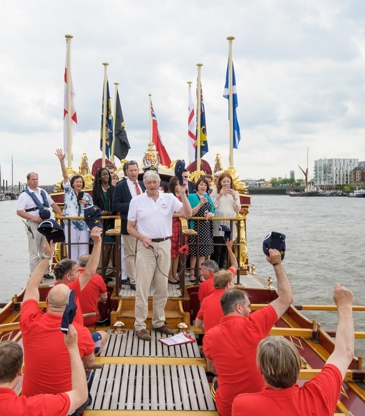 The crew of The Gloriana give three cheers to the Queen