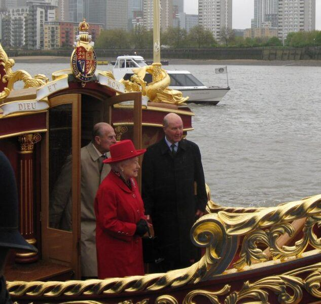 HM the Queen and Prince Philip with Lord Sterling aboard Gloriana